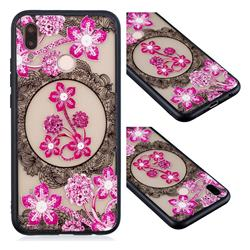 Daffodil Lace Diamond Flower Soft TPU Back Cover for Huawei P20 Lite