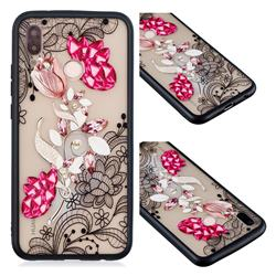 Tulip Lace Diamond Flower Soft TPU Back Cover for Huawei P20 Lite