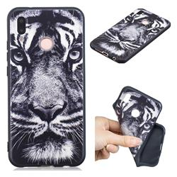 White Tiger 3D Embossed Relief Black TPU Cell Phone Back Cover for Huawei P20 Lite