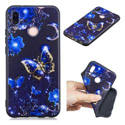 Phnom Penh Butterfly 3D Embossed Relief Black TPU Cell Phone Back Cover for Huawei P20 Lite