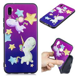 Pony 3D Embossed Relief Black TPU Cell Phone Back Cover for Huawei P20 Lite