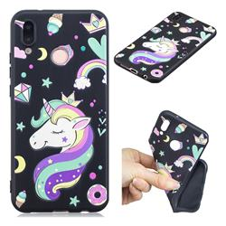 Candy Unicorn 3D Embossed Relief Black TPU Cell Phone Back Cover for Huawei P20 Lite