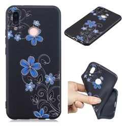 Little Blue Flowers 3D Embossed Relief Black TPU Cell Phone Back Cover for Huawei P20 Lite