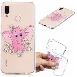 Tiny Pink Elephant Clear Varnish Soft Phone Back Cover for Huawei P20 Lite