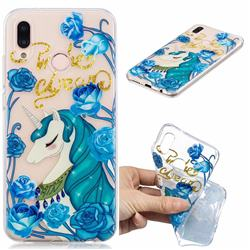 Blue Flower Unicorn Clear Varnish Soft Phone Back Cover for Huawei P20 Lite