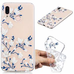 Magnolia Flower Clear Varnish Soft Phone Back Cover for Huawei P20 Lite