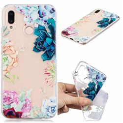 Gem Flower Clear Varnish Soft Phone Back Cover for Huawei P20 Lite