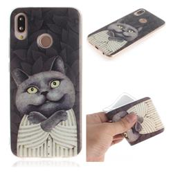 Cat Embrace IMD Soft TPU Cell Phone Back Cover for Huawei P20 Lite