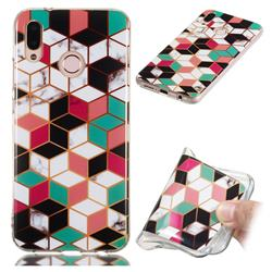 Three-dimensional Square Soft TPU Marble Pattern Phone Case for Huawei P20 Lite