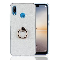 Luxury Soft TPU Glitter Back Ring Cover with 360 Rotate Finger Holder Buckle for Huawei P20 Lite - White