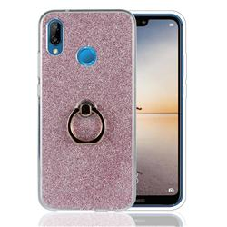 Luxury Soft TPU Glitter Back Ring Cover with 360 Rotate Finger Holder Buckle for Huawei P20 Lite - Pink