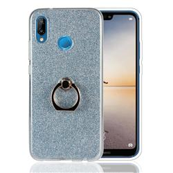 Luxury Soft TPU Glitter Back Ring Cover with 360 Rotate Finger Holder Buckle for Huawei P20 Lite - Blue