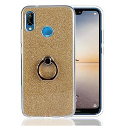 Luxury Soft TPU Glitter Back Ring Cover with 360 Rotate Finger Holder Buckle for Huawei P20 Lite - Golden