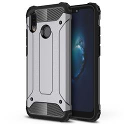 King Kong Armor Premium Shockproof Dual Layer Rugged Hard Cover for Huawei P20 Lite - Silver Grey