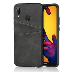 Simple Calf Card Slots Mobile Phone Back Cover for Huawei P20 Lite - Black