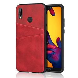 Simple Calf Card Slots Mobile Phone Back Cover for Huawei P20 Lite - Red