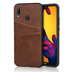 Simple Calf Card Slots Mobile Phone Back Cover for Huawei P20 Lite - Coffee