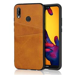 Simple Calf Card Slots Mobile Phone Back Cover for Huawei P20 Lite - Yellow