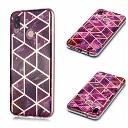 Purple Rhombus Galvanized Rose Gold Marble Phone Back Cover for Huawei P20 Lite