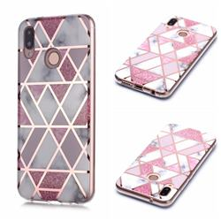 Pink Rhombus Galvanized Rose Gold Marble Phone Back Cover for Huawei P20 Lite