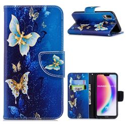 Golden Butterflies Leather Wallet Case for Huawei P20 Lite