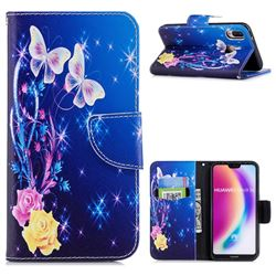 Yellow Flower Butterfly Leather Wallet Case for Huawei P20 Lite