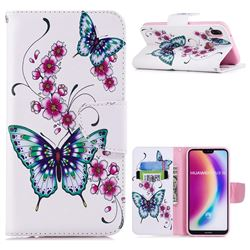 Peach Butterflies Leather Wallet Case for Huawei P20 Lite
