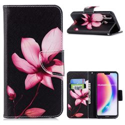 Lotus Flower Leather Wallet Case for Huawei P20 Lite