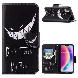 Crooked Grin Leather Wallet Case for Huawei P20 Lite