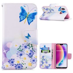 Butterflies Flowers Leather Wallet Case for Huawei P20 Lite