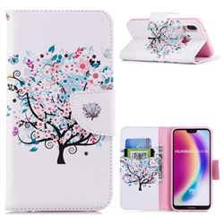 Colorful Tree Leather Wallet Case for Huawei P20 Lite