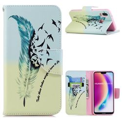 Feather Bird Leather Wallet Case for Huawei P20 Lite