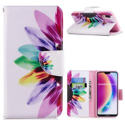 Seven-color Flowers Leather Wallet Case for Huawei P20 Lite