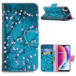Blue Plum Leather Wallet Case for Huawei P20 Lite