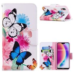Vivid Flying Butterflies Leather Wallet Case for Huawei P20 Lite