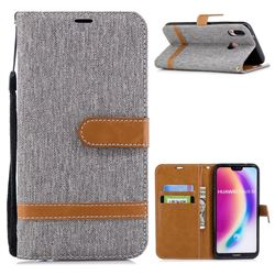 Jeans Cowboy Denim Leather Wallet Case for Huawei P20 Lite - Gray