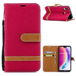 Jeans Cowboy Denim Leather Wallet Case for Huawei P20 Lite - Red