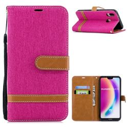 Jeans Cowboy Denim Leather Wallet Case for Huawei P20 Lite - Rose