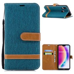 Jeans Cowboy Denim Leather Wallet Case for Huawei P20 Lite - Green