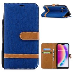 Jeans Cowboy Denim Leather Wallet Case for Huawei P20 Lite - Sapphire