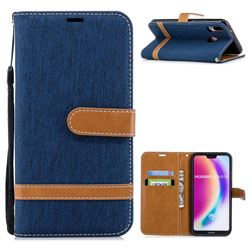 Jeans Cowboy Denim Leather Wallet Case for Huawei P20 Lite - Dark Blue