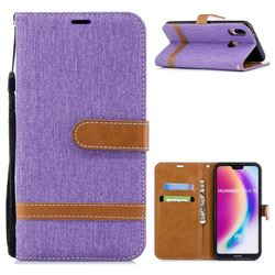 Jeans Cowboy Denim Leather Wallet Case for Huawei P20 Lite - Purple