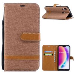 Jeans Cowboy Denim Leather Wallet Case for Huawei P20 Lite - Brown