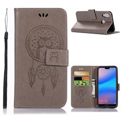 Intricate Embossing Owl Campanula Leather Wallet Case for Huawei P20 Lite - Grey