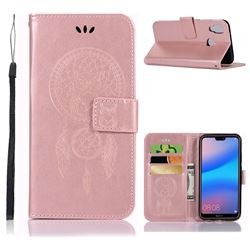 Intricate Embossing Owl Campanula Leather Wallet Case for Huawei P20 Lite - Rose Gold