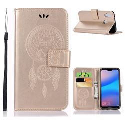 Intricate Embossing Owl Campanula Leather Wallet Case for Huawei P20 Lite - Champagne