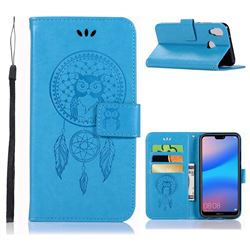 Intricate Embossing Owl Campanula Leather Wallet Case for Huawei P20 Lite - Blue