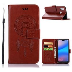 Intricate Embossing Owl Campanula Leather Wallet Case for Huawei P20 Lite - Brown