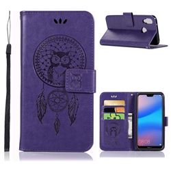 Intricate Embossing Owl Campanula Leather Wallet Case for Huawei P20 Lite - Purple