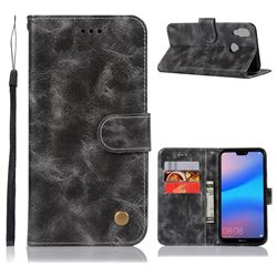 Luxury Retro Leather Wallet Case for Huawei P20 Lite - Gray